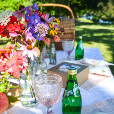 Picnic table decorated with fresh flowers