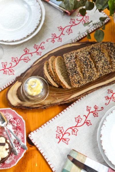 Autumn table linens customized with the Cricut Joy