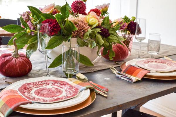 bowl of dahlias on a cozy autumn table