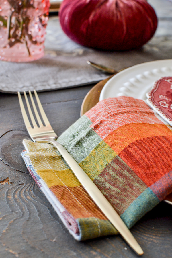 Gold flatware for an autumn tablescape